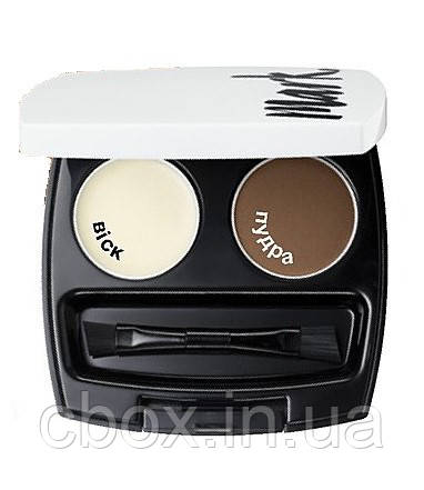 Подвійний набір для дизайну брів, тіні для брів, Avon Mark, Ейвон Марк, колір Deep Brown, Темно коричневий