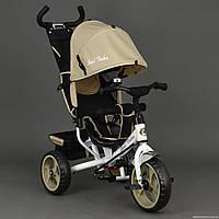 Велосипед 6570 3-х колёсный Best Trike БЕЖЕВЫЙ, переднее колесо 12 дюймов d=28см, заднее 10 дюймов d=24см, ПЕН