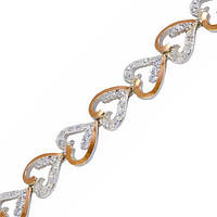 Серебряный браслет женский с золотыми пластинами арт. з035