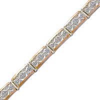 Серебряный браслет женский с золотыми пластинами арт. з057