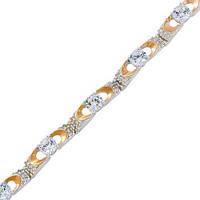 Серебряный браслет женский с золотыми пластинами арт. з048