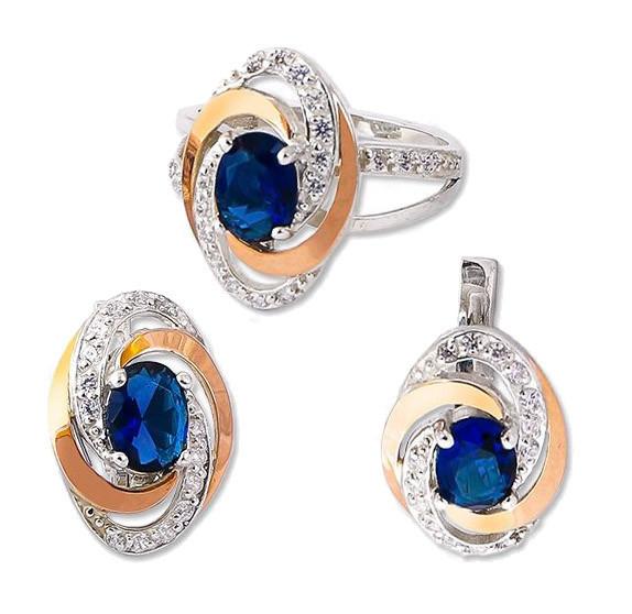 """Серьги и кольцо - серебряный набор с золотыми накладками """"Галактика"""""""