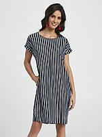 Женское летнее платье в полоску темно-синего цвета. Модель 250043 Enny, коллекция весна-лето 2018