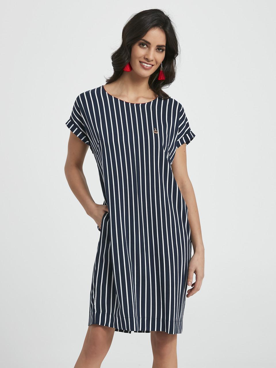 6b2522993ee9ef Женское летнее платье в полоску темно-синего цвета. Модель 250043 Enny,  коллекция весна-лето 2018, цена 920 грн., купить в Одессе — Prom.ua  (ID#75947321)