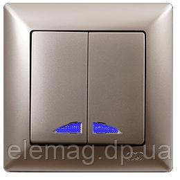 Gunsan Visage Золото Выключатель двухклавишный с подсветкой