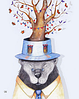 """Почтовая открытка """"Медведь и бабочки"""""""