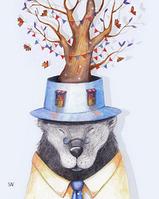 """Почтовая открытка """"Медведь и бабочки"""", фото 1"""