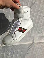 Ботинки гуччи на шнуровке натуральная кожа