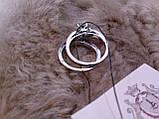 Циркон кольцо двойное с цирконом в серебре 17 размер, фото 3