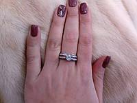 Циркон кольцо двойное с цирконом в серебре 17 размер, фото 1