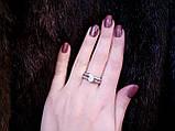 Циркон кольцо двойное с цирконом в серебре 17 размер, фото 4