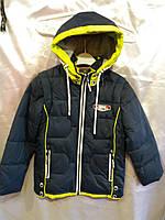 Куртка демисезонная для мальчика на 3-7 лет синего цвета с капюшоном оптом