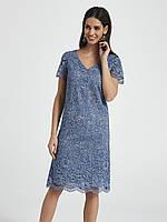 Летнее платье с кружевом голубого цвета. Модель 250049 Enny, коллекция весна-лето 2018