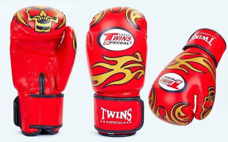 Рукавички для боксу twins (pu) 10 oz червоні репліка