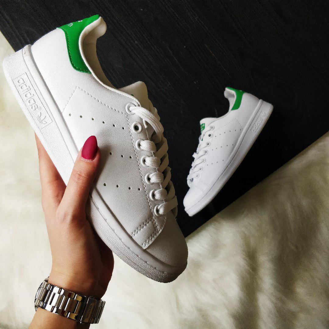 6ae844cf Кроссовки Adidas Stan Smith white/green. Живое фото. Топ качество (Реплика  ААА
