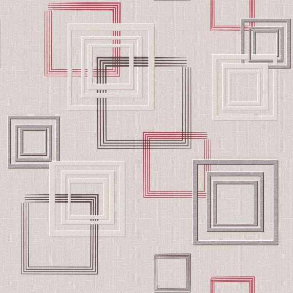Обои бумажные Континент Джем бежевый с красным квадратом 1258
