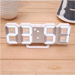 Часы настенные / настольные электронные белый+белый (Пластик, LED) + Адаптер сетевой