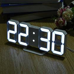 Часы настенные электронные белый+белый (Пластик, LED)