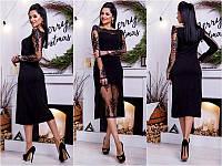 Платье женское длинное черное с кружевом Норма БАТАЛ