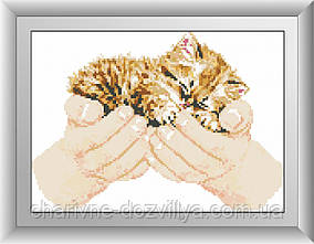 """Набор алмазной вышивки (мозаики) """"Котенок в руках"""""""