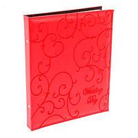 Фотоальбом свадебный кожаная обложка, 20 магнитных листов, красный 35-33-6 см.
