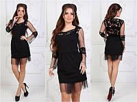Платье женское вечернее черное вставка на спине