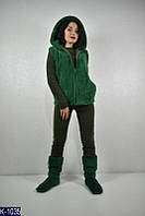 """Домашний костюм (пижама + жилет + сапожки) женский (42-44;44-46) """"Poncho"""" - купить оптом со склада 2P/GA-4653"""