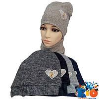 Детская весенняя шапка с хомутом, двойная ангора, для девочки р-р 52-54 (5 ед в уп)