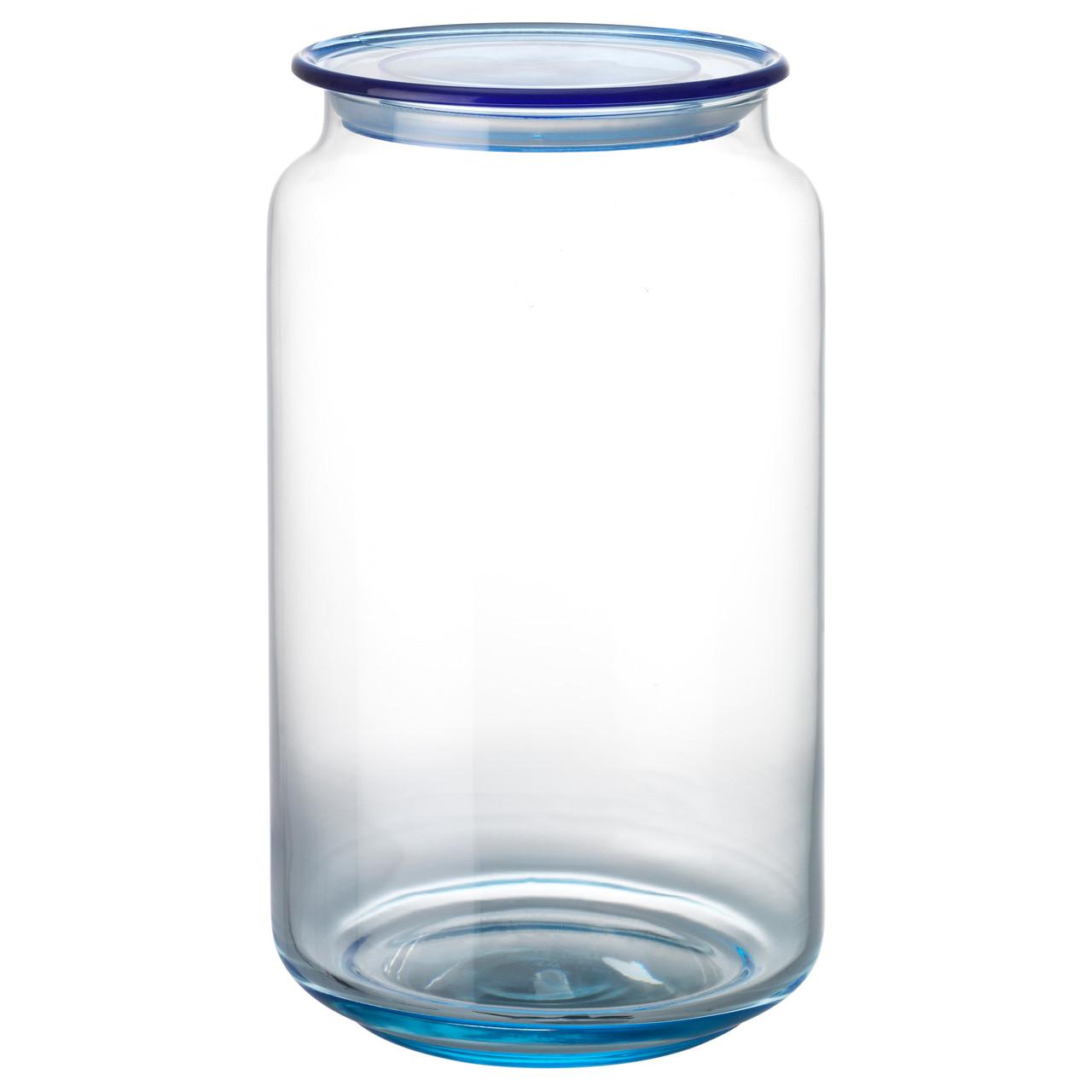 """ІКЕА """"ГЛАССФАНТАСТ"""", Банка со светло-голубого стекла обьёмом 1л с пластиковой крышкой"""
