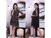 Стильное платье женское цветочки Норма Батал