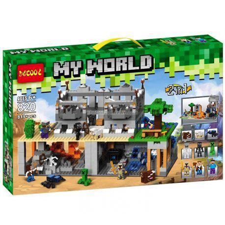 Конструктор Decool 820 Minecraft Майнкрафт 2 в 1 Нападение на крепость 819 дет
