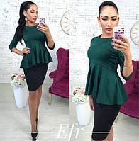 """Нарядная женская блузка с баской и рукавом 3/4 """"Баска"""", темно-зеленая"""