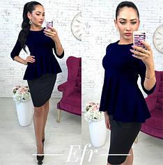 """Нарядная женская блузка с баской и рукавом 3/4 """"Баска"""", темно-синяя"""