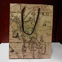 Пакет подарочный крафт 32*44*10 см
