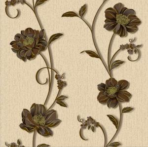 Обои бумажные Континент Деми коричневые цветы бежевый фон 1263