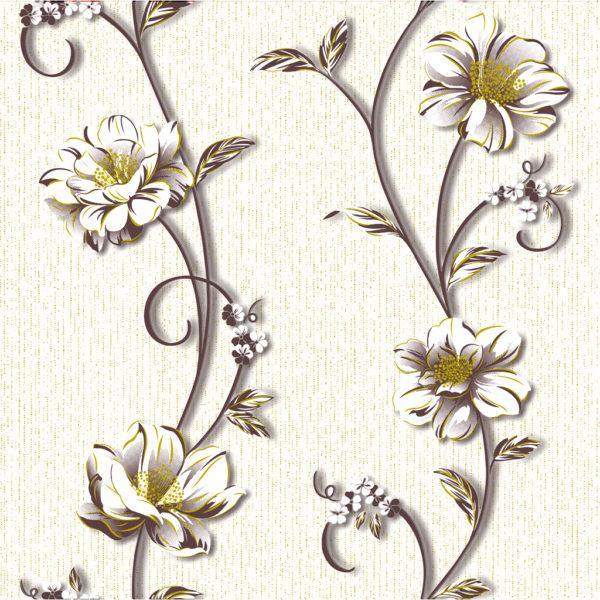 Обои бумажные Континент Деми белые цветы белый фон 1264