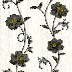 Обои бумажные Континент Деми черные цветы белый фон 1265