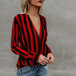 Стильная рубашка в полоску с открытой спиной