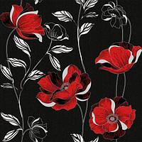 Обои бумажные Континент Есения красные цветы черный фон 1270
