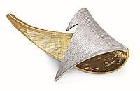Броская, элегантная двухтоновая брошь из меди, покрытой родием и золотом 24 карата.