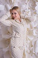 Теплая байковая пижама молоко + шоколадные звезды П309