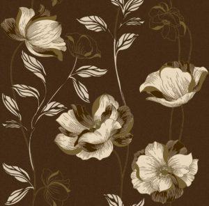 Обои бумажные Континент Есения бежеые цветы золото коричневый фон 1273