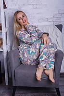 Теплая байковая пижама с единорогами П306