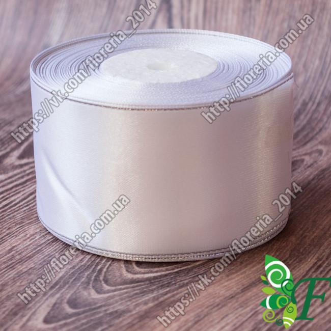 001-Атласная лента с люрексом 50 мм белая/серебро