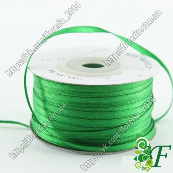 087-Атласная лента 91м. 03мм зеленая