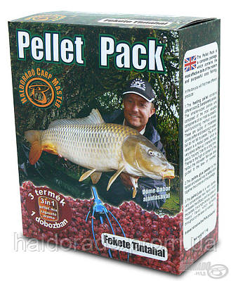 Пеллет Пак для кормушки  Черный кальмар 0,8кг.+100мл аромы + 100гр клея