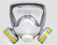 Маска лицевая обзорная с пылевыми dr-0025 и химическими dr-0023 фильтрами марки А в резиновой оправе