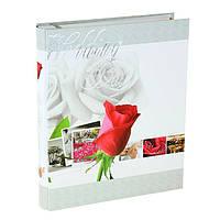 """Фотоальбом свадебный магнитный на 20 листов """"Свежая роза"""" в коробке"""