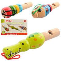 Деревянная игрушка Свисток MD 0951 от 8,5см, 3 вида, в кульке, 10-12-2см