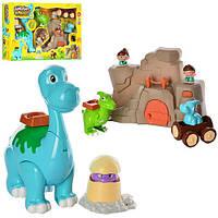 Набор игровой 13633 динозавры 4шт, пещера, фигурки 2шт, 6см, зв, муз, на бат-ке, в кор-ке, 62-39-12см